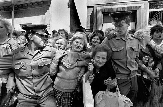 Slovakia, 16 May 1990 – Ružomberok - People waiting for the arrival of the Presidential motorcade