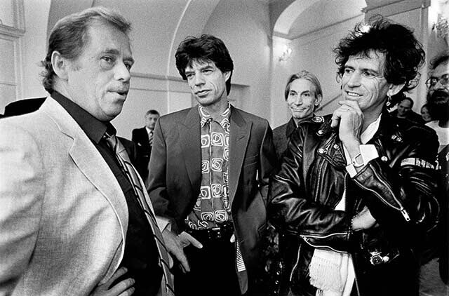 Prague, 18 August 1990 - Prague Castle - Václav Havel receives members of the Rolling Stones on the day of their now legendary appearance at Strahov Stadium, which was the first concert by international stars in Czechoslovakia after the collapse of the Communist régime