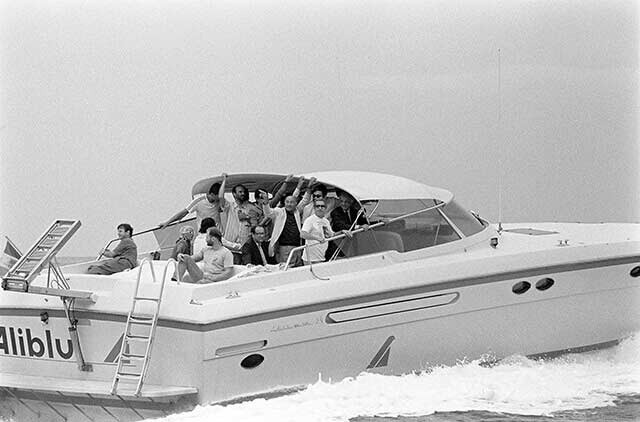 Italy, September 23, 1990 - Capri - Havel with friends and writer Umberto Eco on a speedboat ride