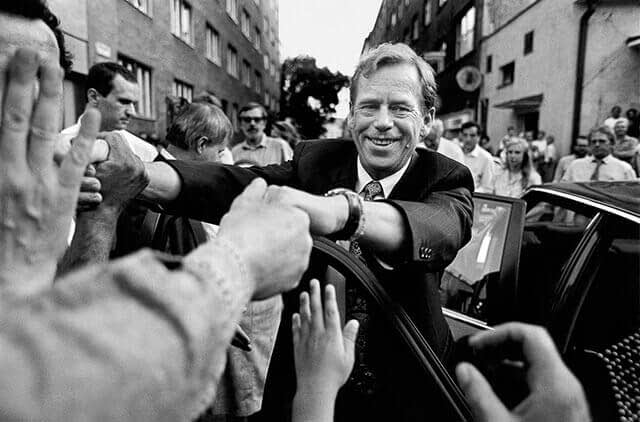 Slovakia, 1 July 1992 – Bratislava - Václav Havel greeting the public during his last official stay in Bratislava before the break-up of the Czechoslovak federation